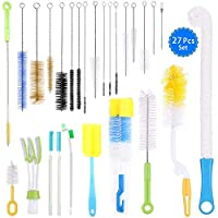 UHAPEER 27 Piece Cleaning Brush Set, Bottle Brush Hose Brush Kit, for Test Tubes Cleaning, Teapot Nozzle, Drinking Straws, Keyboards