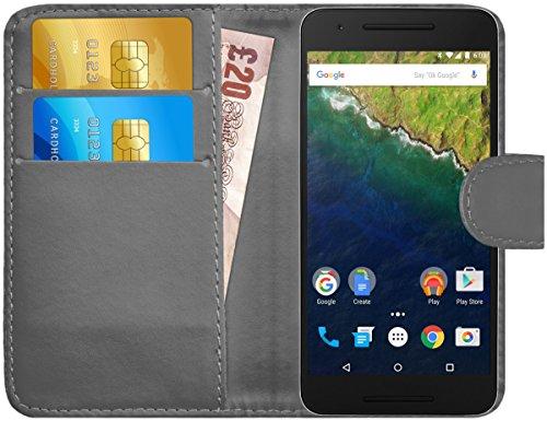 G-Shield Hülle für Google Nexus 6P Klapphülle mit Kartenfach - Grau
