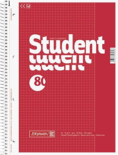 Brunnen 1067926 Notizblock / Collegeblock Student (A4, kariert, Lineatur 26, 70 g/m², 80 Blatt)