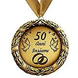 Medaglia regalo di 50 anni insieme o il testo desiderato - Anniversario di matrimonio in oro con colletto in oro