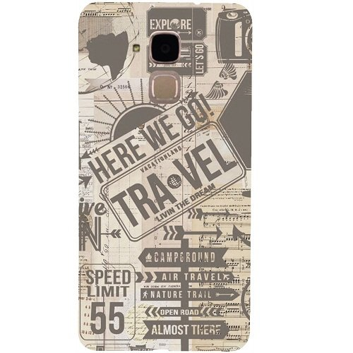 Casotec Travel Design 3D Hard Back Case Cover for Huawei Honor 5c