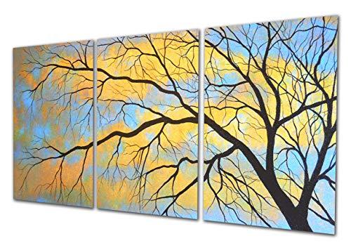 Sumeru Bäume Leinwand Wand Kunst Gemälde abstrakt Kunstwerke Bilder für Home Wohnzimmer Schlafzimmer Dekoration, 3Stück, 30,5x 40,6cm, gedehnt und gerahmt