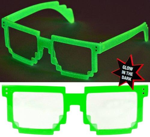 Nerd PIXEL Brillen Glow LEUCHTEN / Verschiedene Farben: Farbe: Grün Klarglas