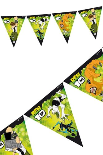Image of Ben 10 Alien Force Theme Plastic Pennant Banner 12 Feet Long