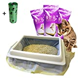 moliwen Cat Litter Tray Liners with Drawstrings Bags 3 Pack (21 bags), 91.5