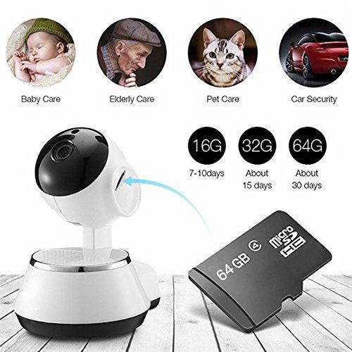 Home Security-ip-kamera (Wireless WiFi IP Kamera Home Baby Security Monitor Wifi Netzwerk verbinden intelligente ¨¹berwachungskamera Strahlungsfrei mit 64G TF Karte)