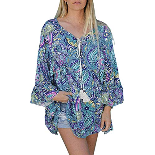 Ziyou Frauen Blumendruck V-Ausschnitt Langarm Shirts drucken beiläufige lose Drawstring Blusen Long Tops(M, Grün) -