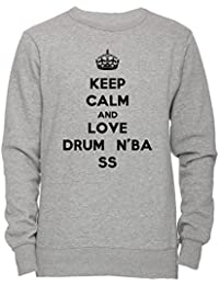 Keep Calm And Love Drum N Bass Unisexo Hombre Mujer Sudadera Jersey Pullover Gris Unisex Todos Los Tamaños Men's Women's Jumper Sweatshirt Grey All Sizes