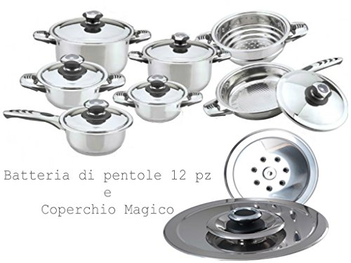 BATTERIA DI PENTOLE DIAMANT 12 PZ. +COPERCHIO MAGICO