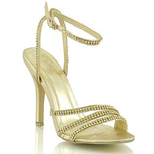 Essex Glam - High Heel Sandalen Mit Strassbesetzten Riemen Für Damen Abschlussball Party Hochzeit Braut Gold Metallisch