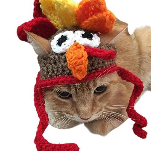 QDZSQFF Haustier-Truthahn-Hut-Nette Haustier-Katzen-Und Hundeschmuck-Feiertags-Partei-Hut-Winter-Warmer Hut Haustier-Truthahn-Hut-Nette Haustier-Katzen-Hundeverzierung - Katze Im Hut Kostüm Baby