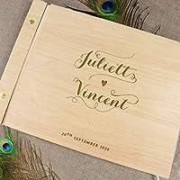 Guestbook, libro delle firme e dediche del matrimonio, con copertina legno, personalizzato, album famiglia per foto, idea regalo per gli anniversari
