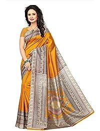 Fabwomen Sarees Floral Print Multicolor Kalamkari Art Khadi Silk Traditional Festive Wear Women's Saree/Sari.