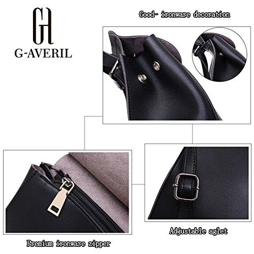 (G-AVERIL) Lady PU Pelle Casual Borsa Top Handle Bag Borsa scuola zaino cerniera di chiusura borsa per le donne marrone
