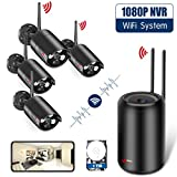 [New NVR Design] Wireless Security Camera System, ANRAN 1080p Home Surveillance System WiFi NVR Kit with 4PCS 2.0MP WIFI Indoor Outdoor IP Network Cameras, Auto Pair, Free APP Remote, 1TB Hard Drive