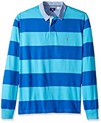 Gant Mens Stripe Rugby Shirt, Nautical Blue, XXL