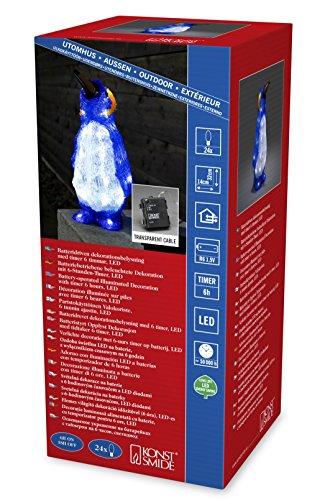 """Konstsmide 6142-203 LED Acrylfigur """"Pinguin"""" / für Außen (IP44) /  Batteriebetrieben: 4xAA 1.5V (exkl.) / 6h Timer / 24 kalt weiße Dioden / transparentes Kabel"""
