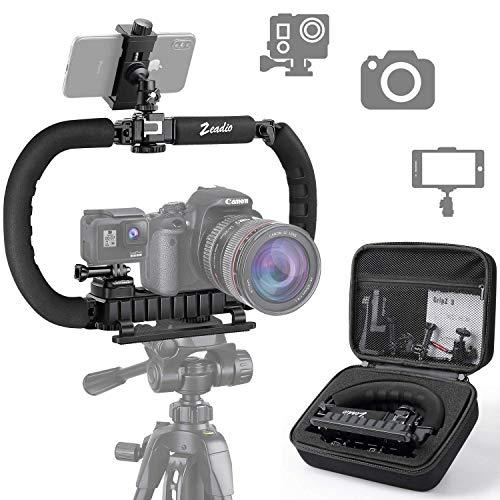 Zeadio Stabilisator für Kamera Handy GoPro, Faltbare Handgriff Video Rig Steadycam Stabilizer für alle GoPro, Kamera, Camcorder, DSLR, Smartphone, iPhone, Huawei, Samsung usw