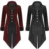 Riou Weihnachten Mäntel Herren Frack Jacke Retro Gothic Gehrock Uniform Kostüm Steampunk Party Hochzeit Abendkleid Cos Revers Dovetail Oberbekleidung (2XL, Rot)