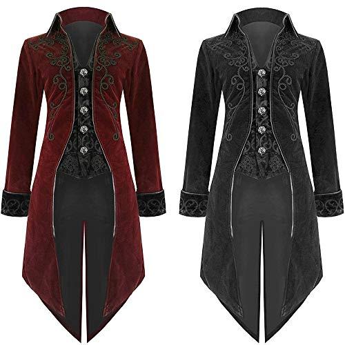 Riou Weihnachten Mäntel Herren Frack Jacke Retro Gothic Gehrock Uniform Kostüm Steampunk Party Hochzeit Abendkleid Cos Revers Dovetail Oberbekleidung (L, Rot)