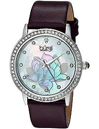 Burgi Reloj de cuarzo vestido de cuero moradas para mujer (Modelo: