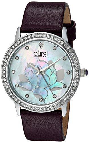Burgi'-Orologio da donna al quarzo Con quadrante in madreperla, Display analogico e cinturino in pelle, colore: viola, BUR159PU