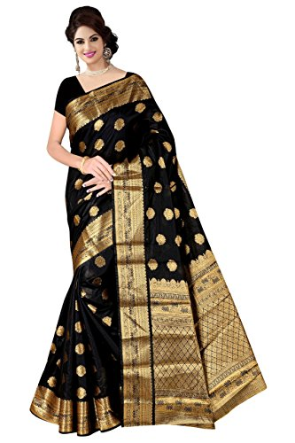 Boutique On Palm Bollywood Style New Generation Concept Party Wear Saree Banarasi Silk Sarees (Black Jacquard Mango Tree Butta)