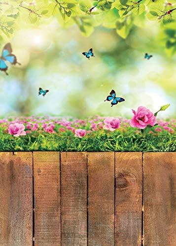 AIIKES 5x7FT/1,5Mx2,1M Frühlings Fotografie Hintergrund Schmetterlings Blumen Holzboden Foto Hintergrund Ostern Neugeborenes Baby Vinyl Foto Hintergründe für Foto Studio 11-423