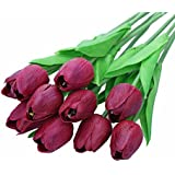 CCINEE - 10 mazzi di tulipani artificiali, effetto al tatto reale, per la casa, il giardino, matrimoni, decoro viola