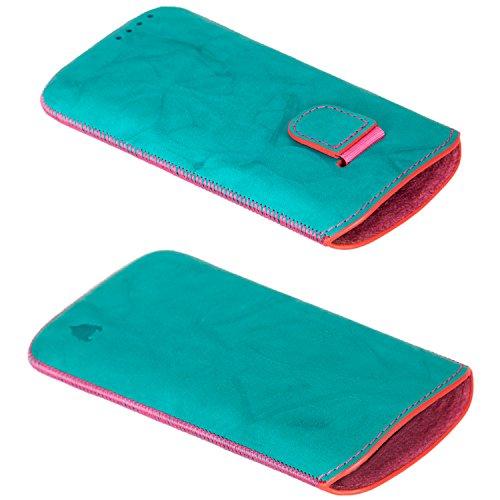 MediaDevil iPhone 6 / 6S Lederhülle (Dunkelgrau mit blauen Nähten) - Artisanpouch Hülle aus echtem europäischen Leder mit Ausziehlasche Vert, Rose