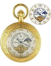 Ogle impermeable Lupa Tourbillon fases luna colgante collar cadena Fob Self Winding oro blanco automático mecánico reloj de bolsillo