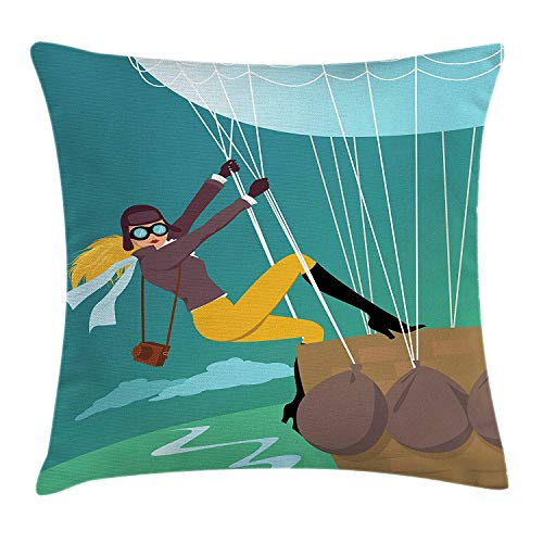 Explore Throw Pillow Cushion Cover, Vintage Cartoon Style Explorer Spy Woman Figure Adventurer on a Hot Air Balloon, Decorative Square Accent Pillow Case, 18 X 18 inches, Multicolor