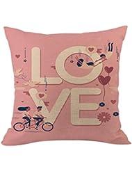 """Día de San Valentín funda de almohada, hmlai feliz San Valentín fundas de almohada lino y algodón sofá cojín cubierta decoración del hogar aniversario regalo del día de San Valentín, 18""""x18"""", i"""