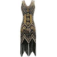 Metme Mujeres Años 20 V cuello con cuentas con flecos Gatsby tema vestido de aleta para el baile de graduación estiloso fiesta indumentaria
