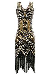 Metme Women's 1920s V Neck Beaded Fringed Gatsby Theme Flapper Dress For Prom (4xl, Black)
