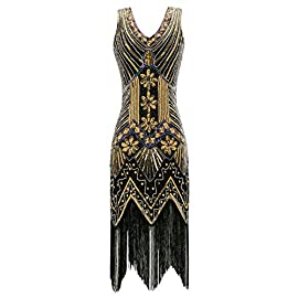Metme Women's 1920s V Neck Beaded Fringed Gatsby Theme Flapper Dress for Prom