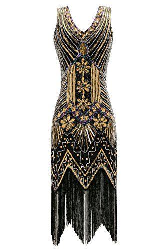 Metme Women's 1920s V Neck Beaded Fringed Gatsby Theme Flapper Dress for Prom 51KbR7NVymL