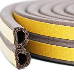 Bro Door Window Draught Excluder Strip Foam Seal Weather Stripping EPDM Tape Adhesive Rubber Gasket Soundproofing Weatherstrip, 9mm x 6mm x 3 Meters, 4 Seals Total 12M (D type, Brown)