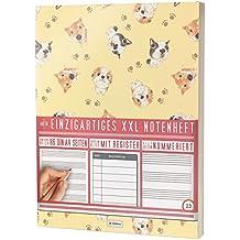 """Mein Notenheft / 86 Seiten, 44 Blätter, 12 Systeme / Mit Register und Seitenzahlen / PR301 """"Hundewelpen"""" / DIN A4 Softcover"""