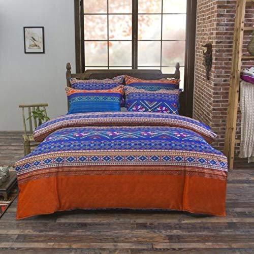Baohu-bedding, Bettwäsche-Sets Reversible Polyester Printing 3 / 4PCS Bettbezug und Kissenbezüge Set 200TC National Wind Bed Heimtextilien Farbe ist besonders hell und wunderschön -
