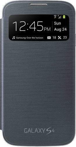 Samsung S-View - Funda para móvil Galaxy S4 (Pantalla frontal, teclas laterales para activar la pantalla), color negro- Versión Extranjera