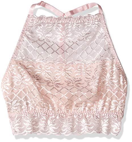 Escante Spitzen-bh (Escante Damen Hi-Neck Bralette BH, rosa - Soft pink, X-Large)