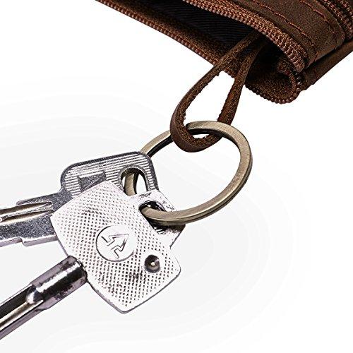 Münzbörsen, DAFROH Mini Geldbeutel aus Leder Retro-Stil Portemonnaie für Herren und Jungen (Münzbörsen Braun) Schwarz