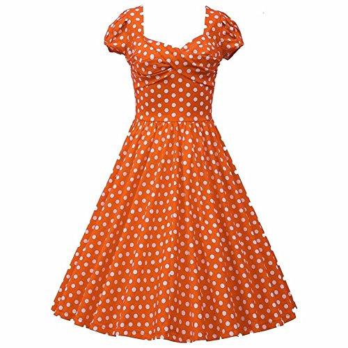 WintCO Femme Robe à Pois des Années 50S Hepburn Sans Manche Style Rétro Cocktail Casual Bal 4 Couleurs Orange avec Pois