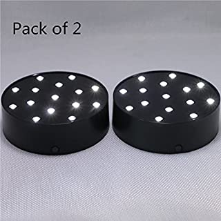 Acmee (Pack of 2) Battery Operated 4 Inch Round Super Bright LED Plate Light, Display Light base for Crystals, 15 LED Vase Base for Wedding Table (Black Case)