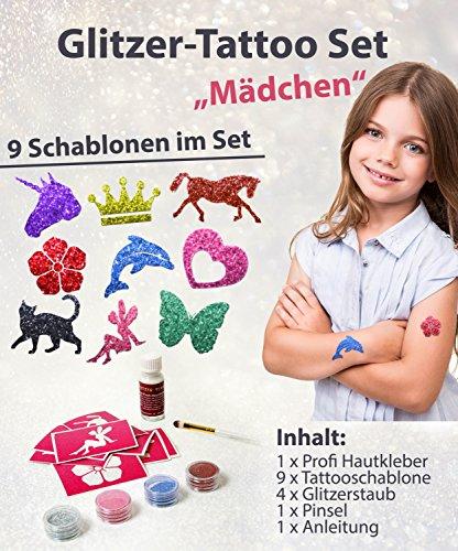 Glitzer Tattoo Set Mädchen mit Profikleber, 1x Pinsel, 4x Glitzer, 9x Tattooschablonen -