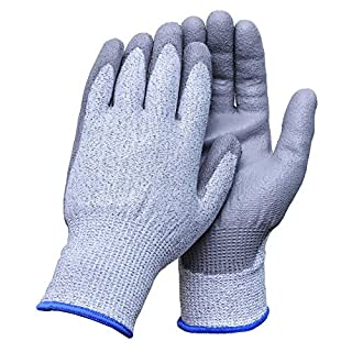 Aituo 1 Pair Pu Coated Cut Resistant Gloves Safety Protective En388 Cut Level 5 Protection, Anti-slash Kitchen or Industry Cut Safe Work Gloves (Larger-Grey)