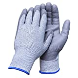 Aituo 1 Pair Pu Coated Cut Resistant Gloves Safety Protective En388 Cut Level 5 Protection, Anti-slash Kitchen or Industry Cut Safe Work Gloves (Meidu