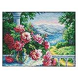 IPOTCH Kreuzstich Stickpackung vorgezeichnet mit Anleitung zum Selbersticken - Blume Landschaft - Bedrucktes Tuch