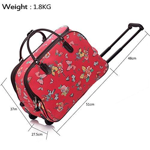 TrendStar Damen Reisetasche Taschen Handgepäck Frauen Schmetterling Wochenende rollig Handtasche C2 - Red Butterfly S3
